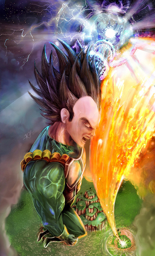 vegeta painting portrait dragon ball art