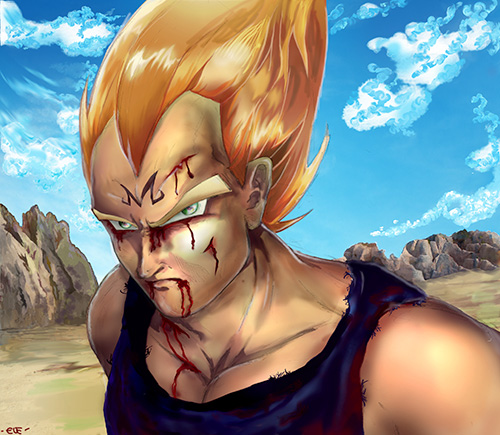 majin vegeta portrait dragon ball art painting dbz