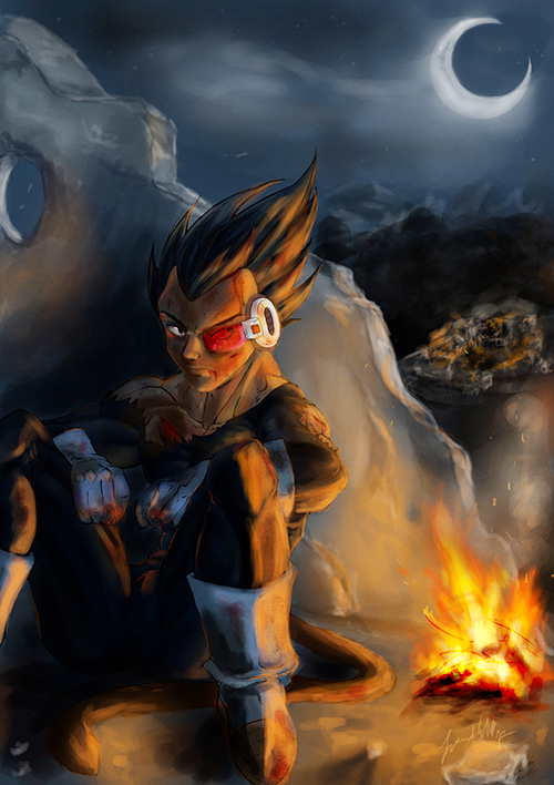 vegeta portrait dragon ball painting art dbz