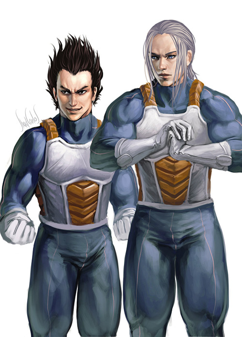 vegeta trunks training saiyans painting