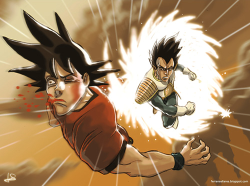 vegeta vs goku dragon ball art painting