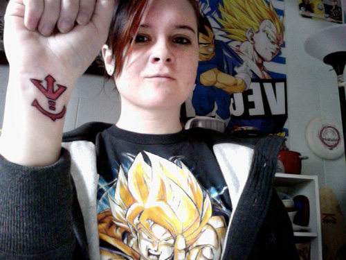 dragon ball z fan monica saiyan crest tattoo vegeta goku shirt