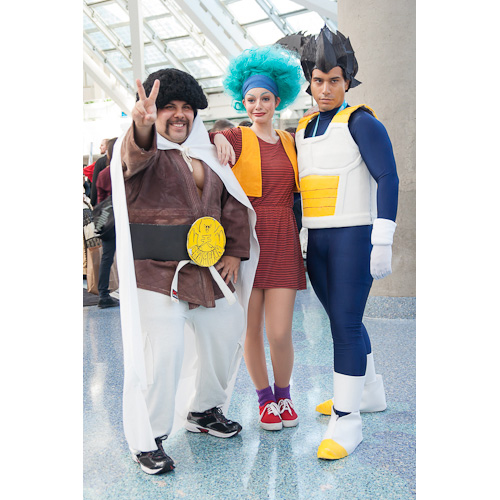 dragon ball cosplay anime expo mr satan bulma vegeta dbz
