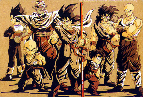dragon ball z saiyan saga group goku vegeta gohan piccolo krillin yamcha