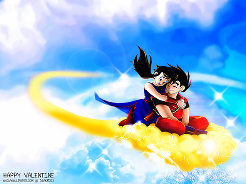 goku chichi happy love flying numbus kintoun dragon ball
