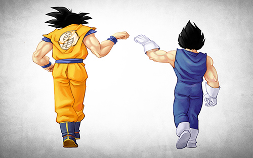 dragon ball z goku vegeta fist bump