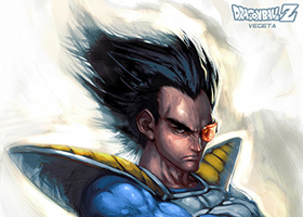vegeta painting dragon ball art