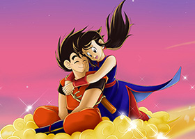 dragon ball art love goku chi-chi