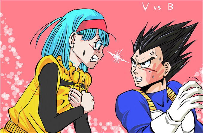vegeta bulma fight love dbz