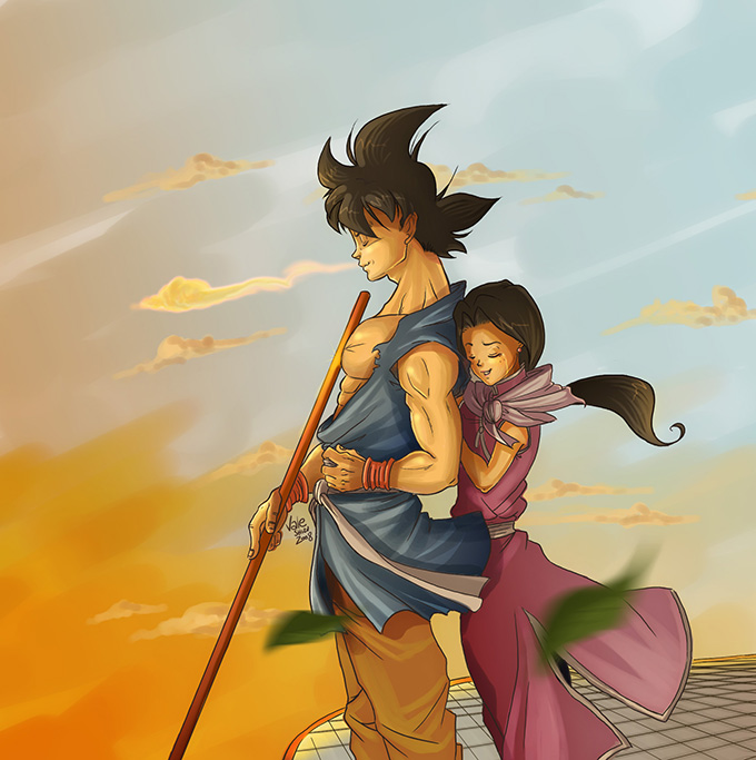 goku chi-chi love dbz lookout art