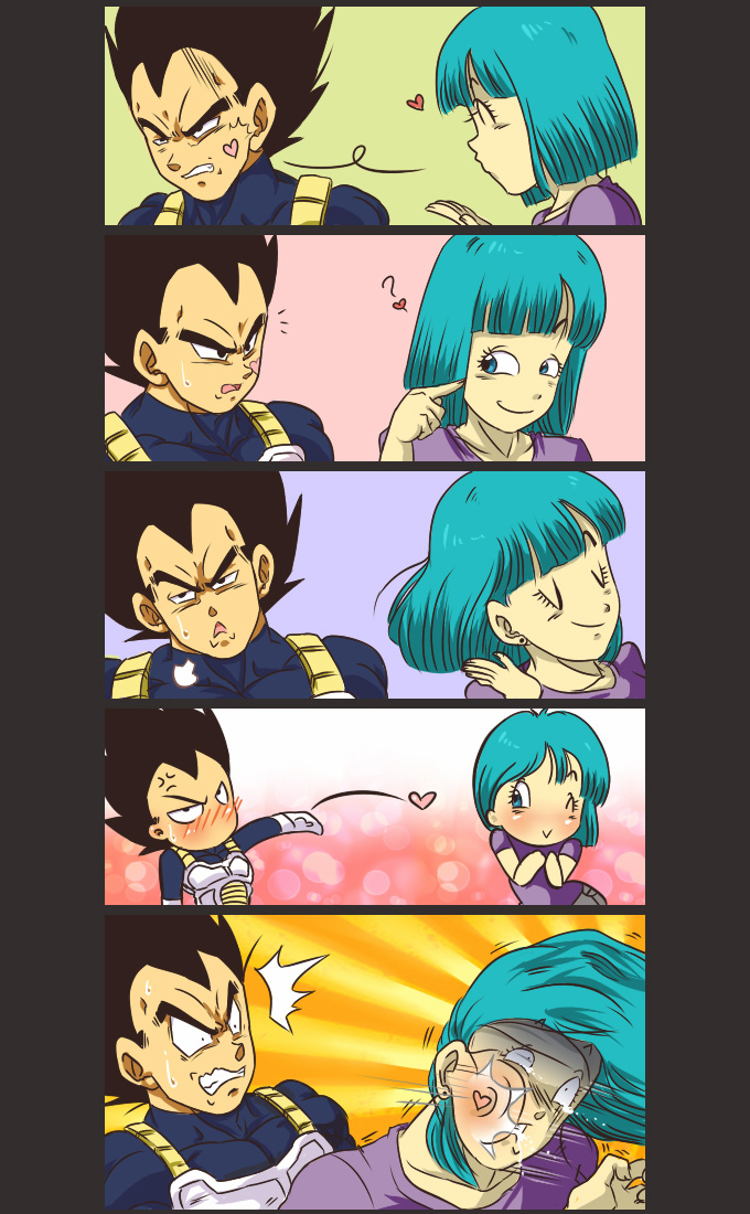 vegeta blow kiss bulma dbz love