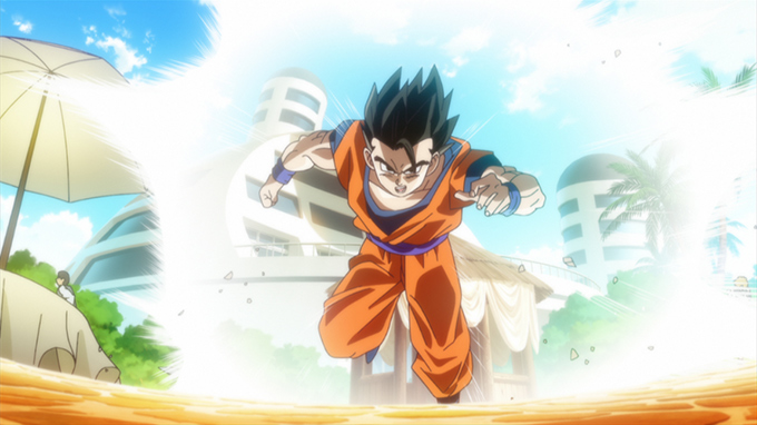 gohan flying in dragon ball z battle of gods