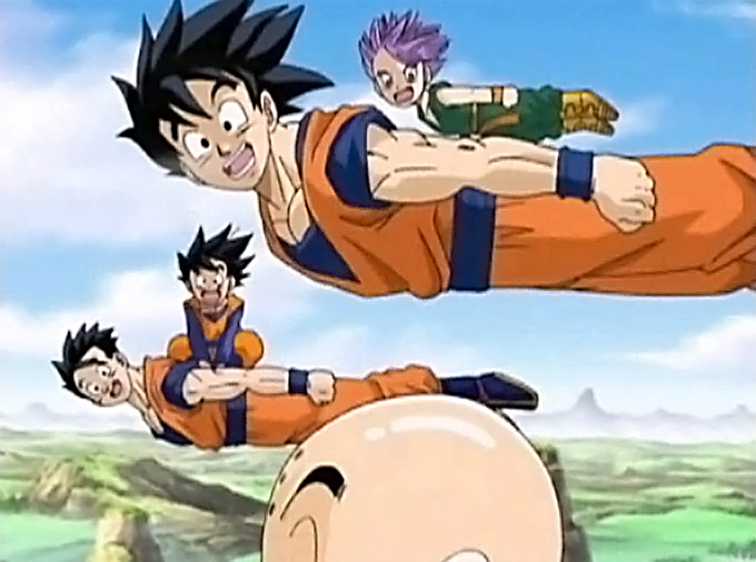 goku gohan goten trunks krillin fly in dragon ball z
