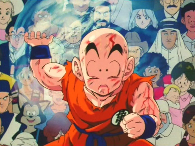 krillin holds genki dama of world's people