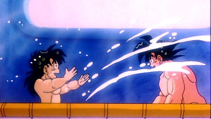 goku and gohan play in bathtub