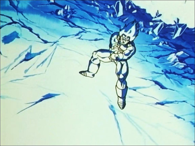 goku in ice in room of spirit and time dbz