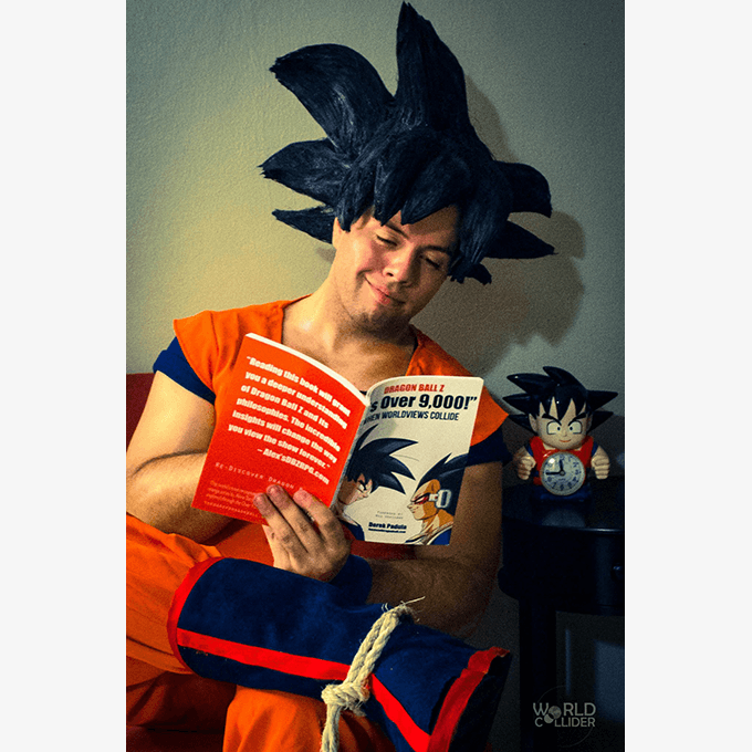 goku reads about goku dbz over 9000 book