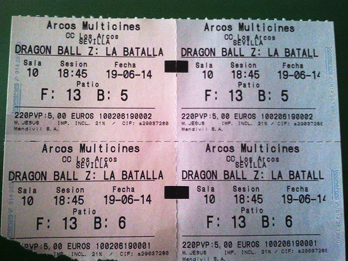 dragon ball z batalla dos dios movie tickets
