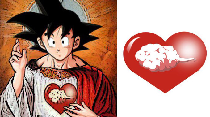 lord goku jesus christ heart flying nimbus