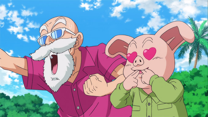 dragon ball z battle of gods cheering roshi oolong