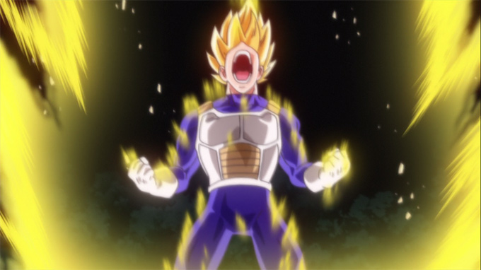 dragon ball z battle of gods super saiyan vegeta power up