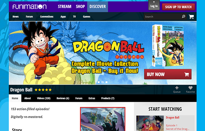 funimation dragon ball website