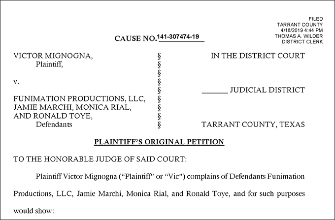 vic mignogna v funimation lawsuit