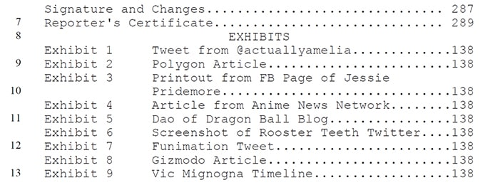 vic mignogna lawsuit funimation exhibit list
