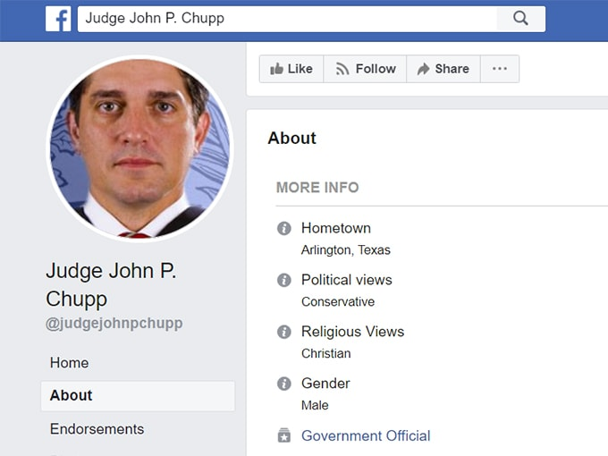 judge chupp about page facebook