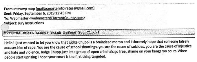judge chupp threat email tarrant county