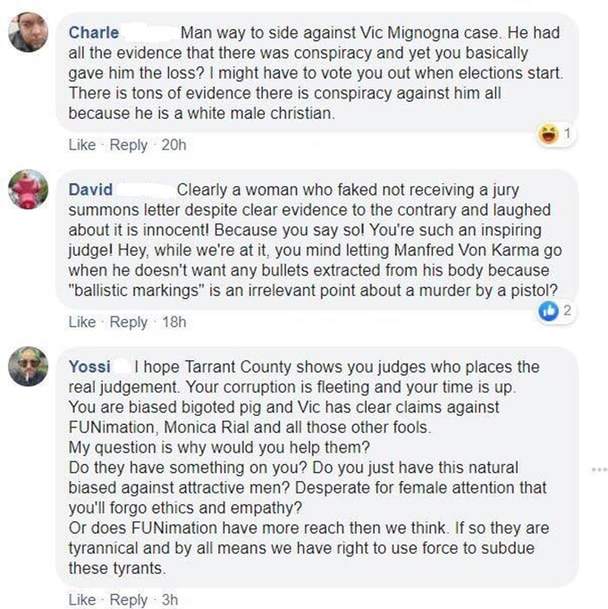 vic mignogna supporters threaten judge chupp facebook