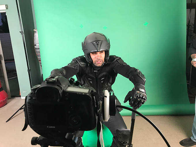 interface movie behind the scenes green screen jet bike ben ramsey