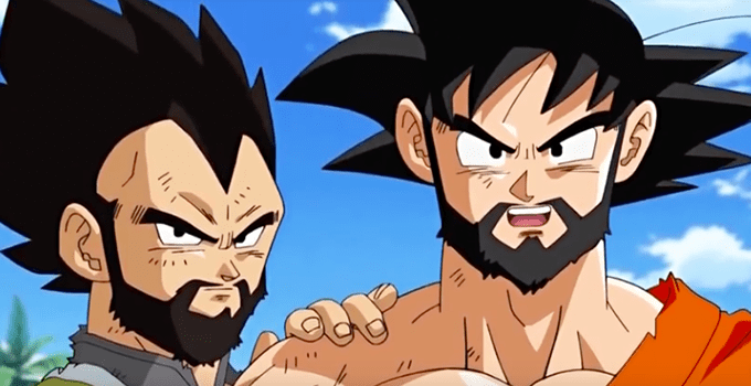 goku and vegeta with a beard