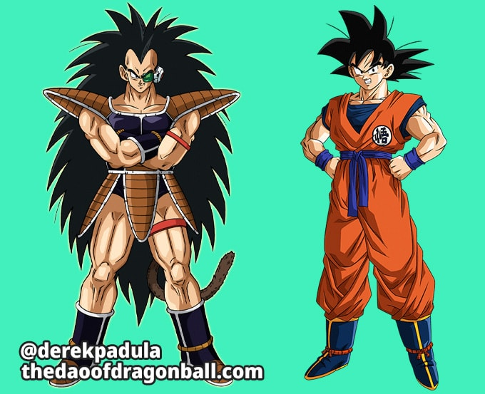 goku and his brother raditz with black hair