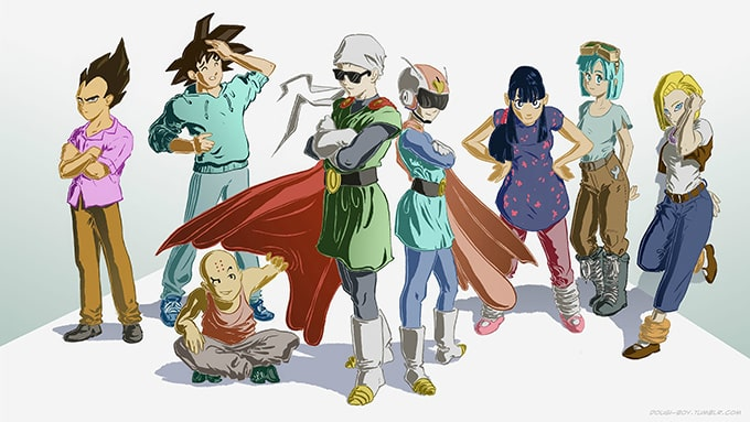 dragon ball couples group pose