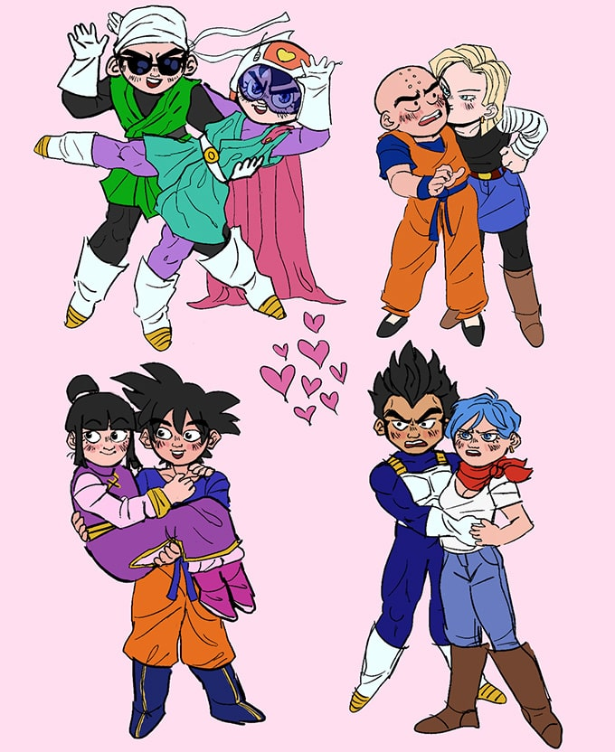 dragon ball couples group silly
